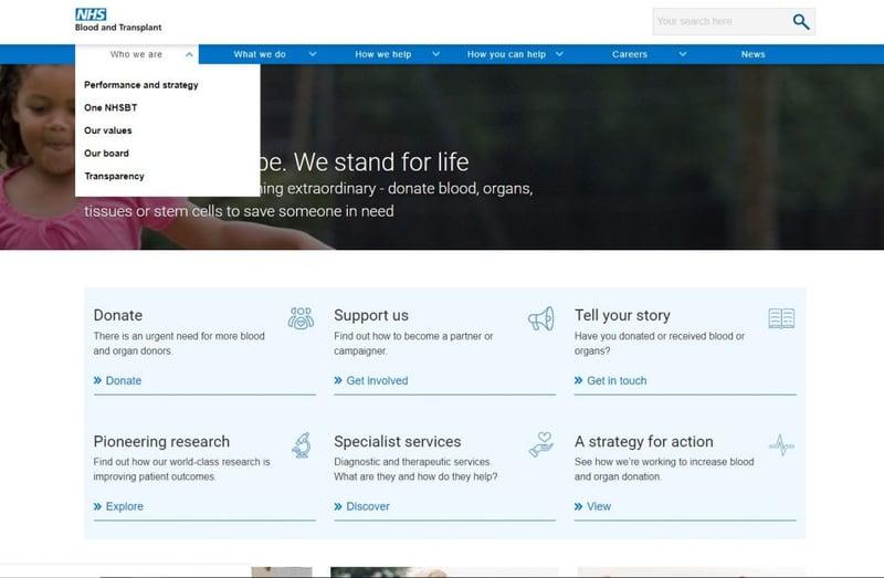 nhs blood transplant homepage