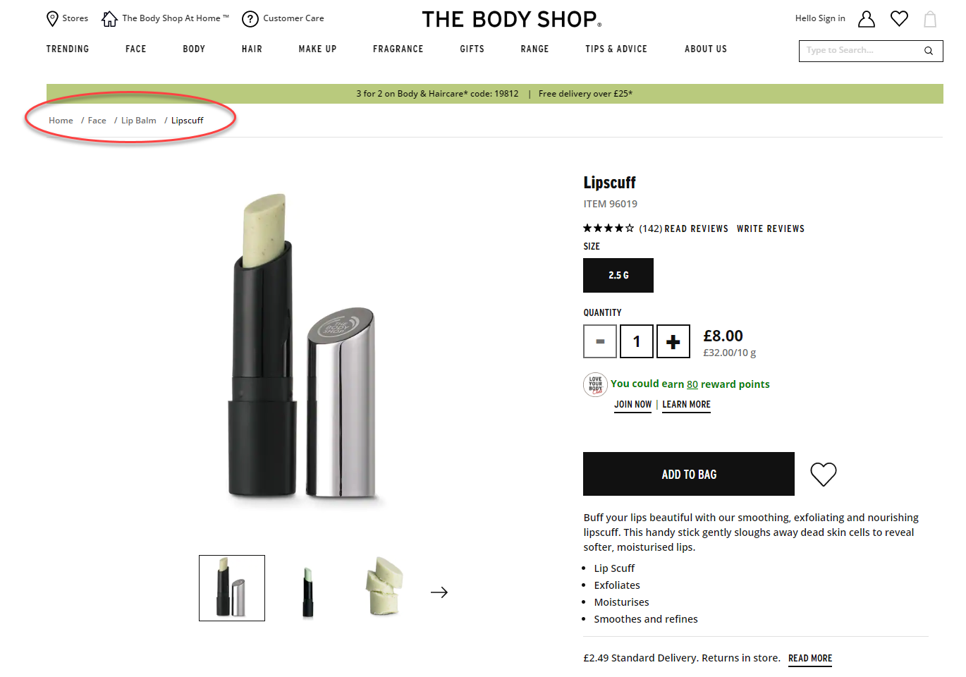 Example of clearly displayed breadcrumb link on The Body Shop website
