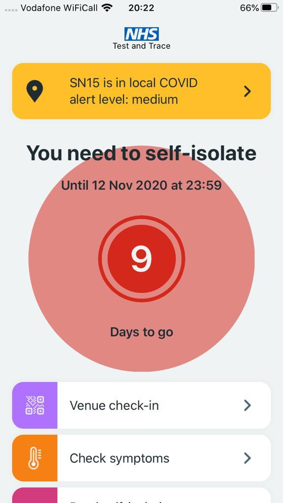 Covid-19 app showing number of days left to self-isolate