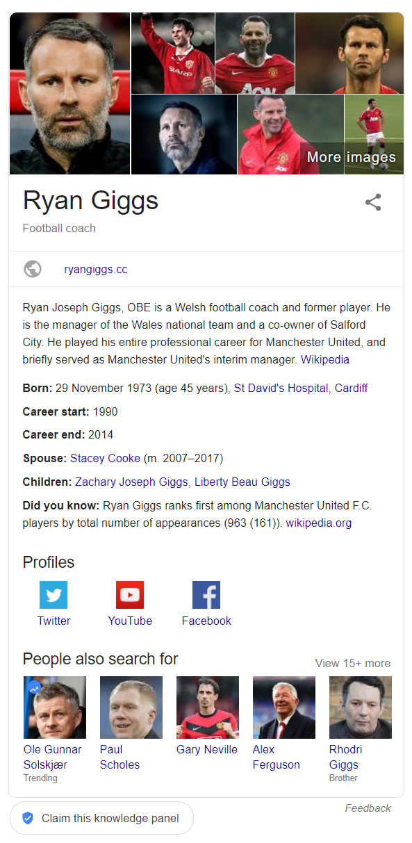 Example of Google's rich answer showing details on Ryan Giggs, Football Coach, including pictures, bio and fun facts