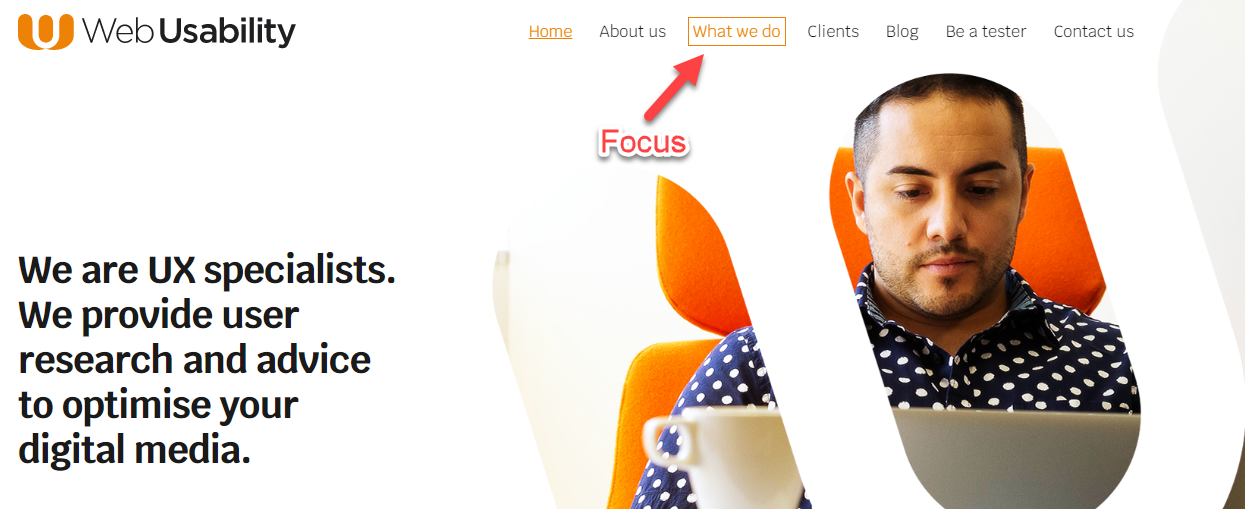 On the Web Usability website an orange box appears around a link when it gets focus