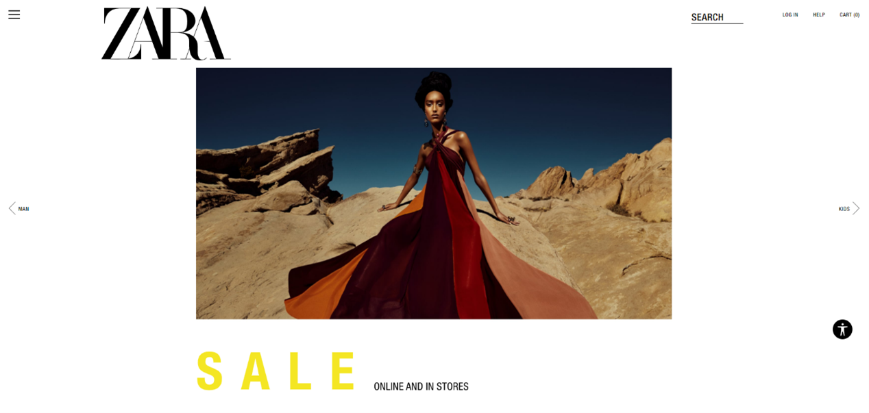 Zara website homepage