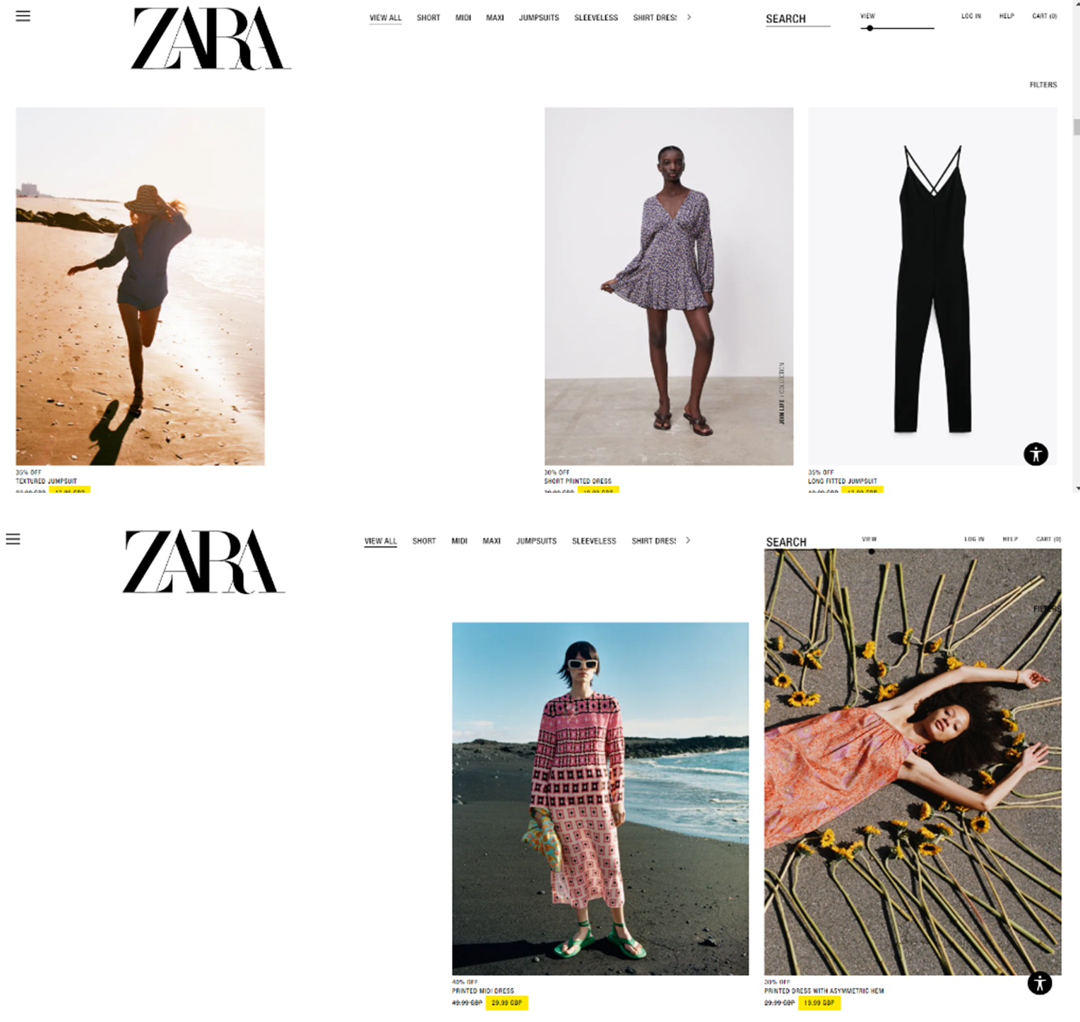 Zara dresses product page