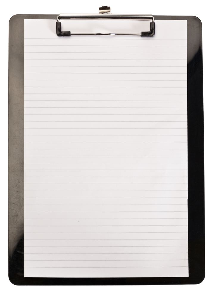 Clean note pad on a white background